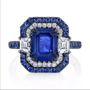 New Women's 925 Silver beautiful Sapphire Ring